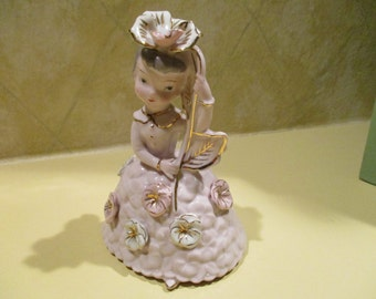 Vintage Ucagco Ceramics Made in Japan Pink and gold girl flowers
