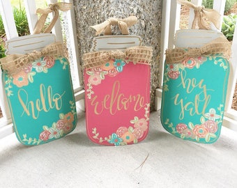 "20"" Hand Painted Flower Mason Jar Door Hanger, Custom Order"