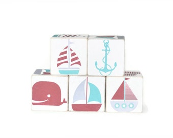 Nautical Wooden Blocks in Teal