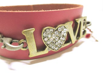 JEWELRY Pink LOVE Leather Bracelet Word Quote Love  Cuff Leather Cuff Love Charm Bracelet  Silver Heart Charm Red Bead Love