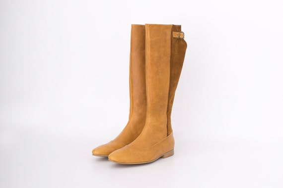 Boots ON for metal SALE leather and suede ADIKILAV brown with Flat women buckle AqB1xgFB