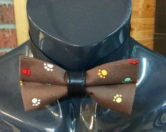 Brown with Multicoloured Puppy Paw Print Bow Tie