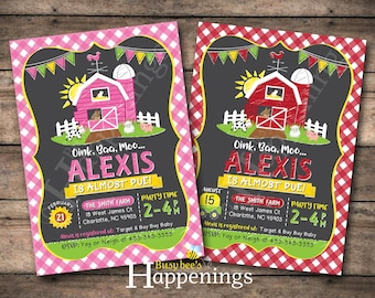 Farm Baby Shower Invitation Old McDonald Shower Invite Farm Shower Invite Country Shower Chalkboard Digital File by Busy bee's Happenings