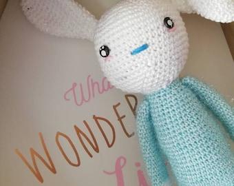 Blue amigurumi Bunny blanket gift