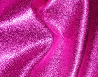 """HOT PINK Pebbled Metallic 12""""x12"""" - shows the grain - cowhide Leather 2.5-3 oz / 1-1.2 mm PeggySueAlso™ E4100-12"""