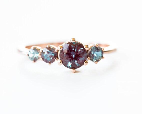 Cluster alexandrite 14k gold engagement ring, alexandrite engagement ring, unique engagement, alexandrite engagement ring, round stone ring
