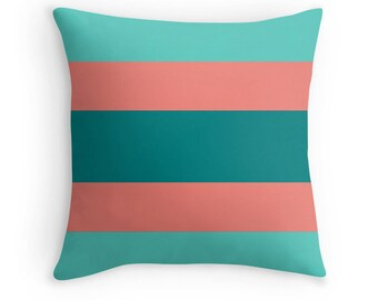 Teal Coral Pillow, Teal Coral Decorative Pillow, Teal Coral Pillow Case, Teal Coral Bedding, Teal Orange Throw Pillow, Coral Bedroom