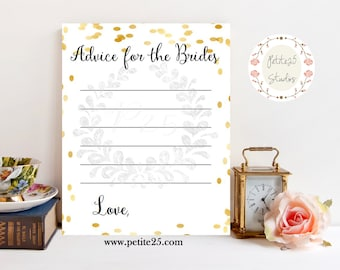 Advice for the Brides, Wedding shower game, bridal shower game, Same Sex Wedding, Same Sex Marriage, LGBT, Gold, INSTANT DOWNLOAD