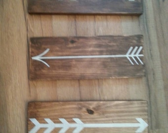Arrow sign-set of 3-wall hanging-stained wood-nursery-