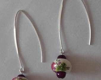 Flowers of plum and silver porcelain earrings