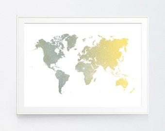 San Francisco Yellow Grey Skyline Watercolor Printable Gray