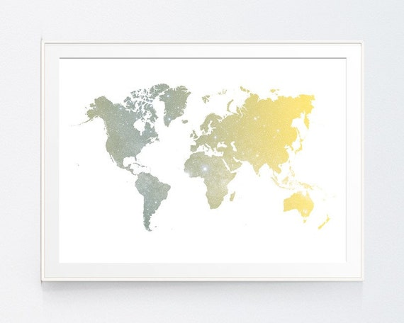 Yellow grey world map poster art print gold and grey instant gumiabroncs Choice Image