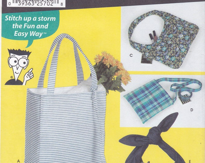 FREE US SHIP Simplicity 7161 Crafts Bags Purse Tote Hand Bag Handbag New Sewing Pattern Attached Cosmetic Wallet Coin Hobo Tie