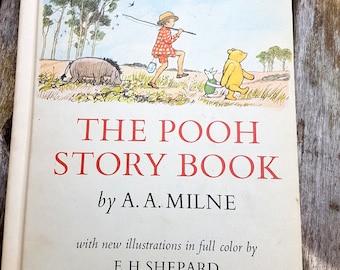 Le livre d'histoire de Winnie l'Ourson par AA Milne, livre relié Vintage des enfants, illustré en couleur par EH Shepard, 3 histoires individuelles lire à haute voix