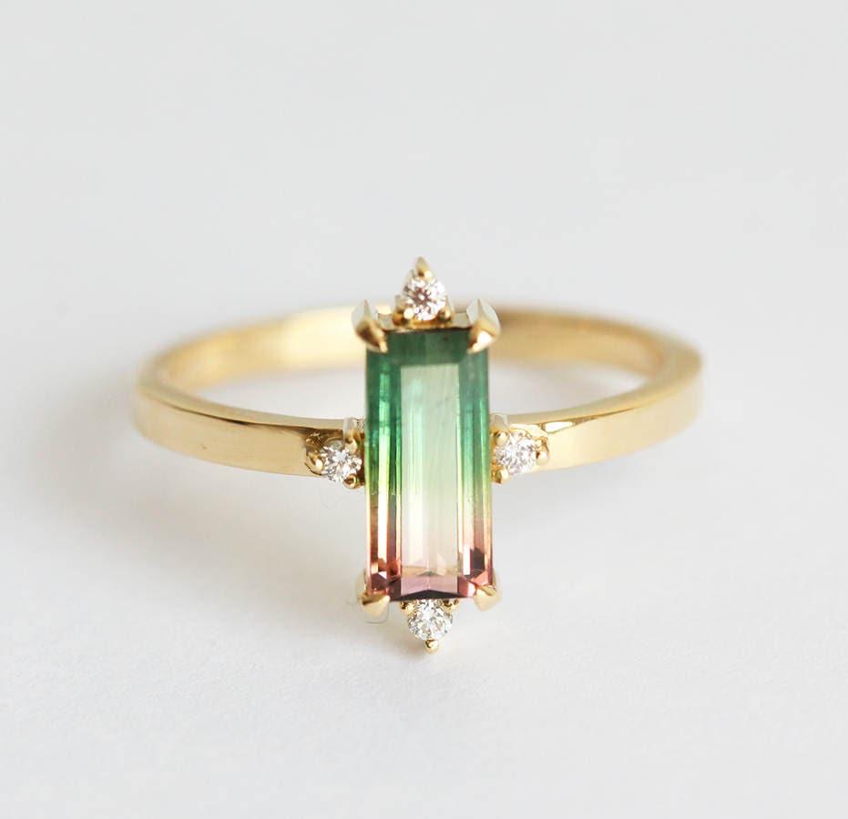 Watermelon Tourmaline Ring Tourmaline Ring Pink Green Ring