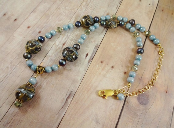 Lampwork Glass, Freshwater Pearl and Czech Glass Necklace in Light Blue and Mossy Green