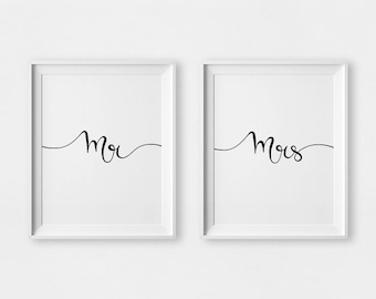 Mr and Mrs Print, Bride to Groom Gift, Gifts for Newlyweds, Mr and Mrs Wall Art, Mr and Mrs Prints, Newlyweds Print, Mr and Mrs