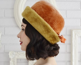 Vintage 1960s Faux Fur Hat in Orange, Mustard and Cream with Ribbon by Empress