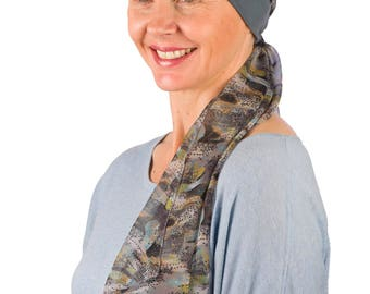 Abigail - Jersey Cotton Hat with Chiffon Scarf for Cancer, Chemo and Hair Loss