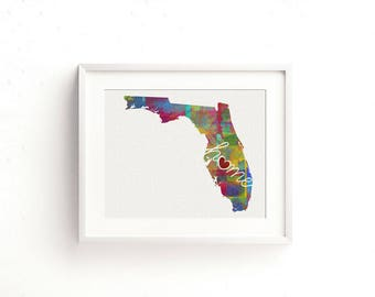 Florida Love - FL - A Watercolor Style Home State Wall Decor Art Print for Moving - College - Shower Present - Wedding Gift - Housewarming