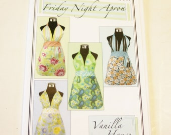 Friday Night Apron by Vanilla House Designs USED, CUT Comfortly fits sizes 4-14