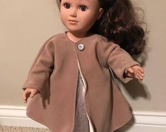 Brown Tan Winter Coat for 18 inch Dolls