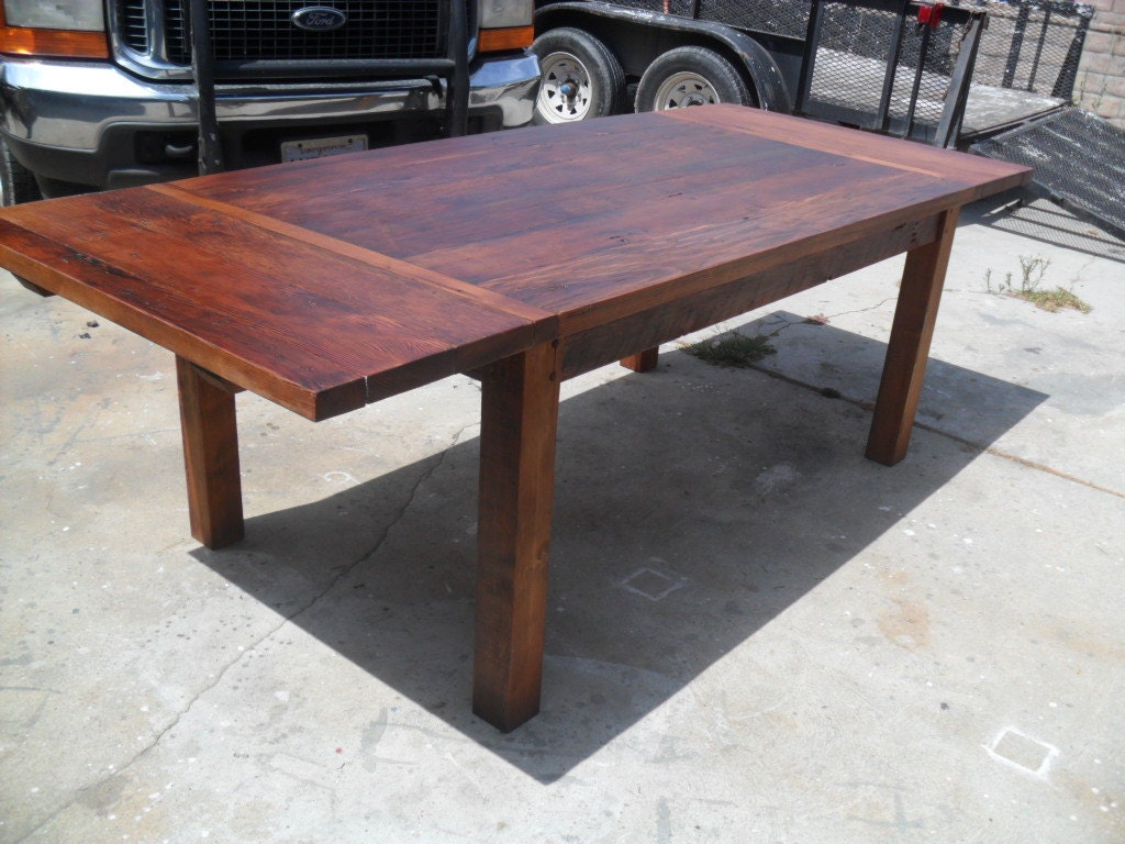 Zoom Reclaimed Wood Pine Extension Dining Table