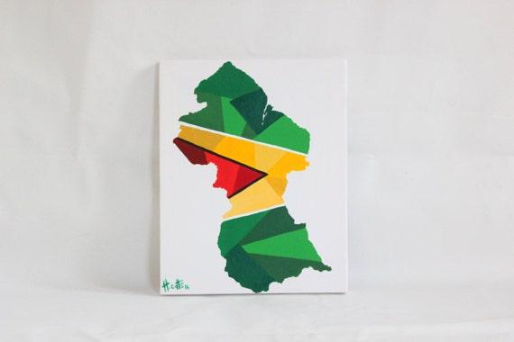 Guyana Painting Original Painting Guyana Guyana Flag