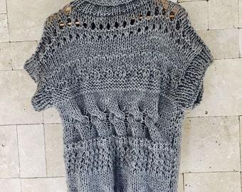 Sweater , Women's Gray Sweater , Chunky Sweater , Oversized women knit Sweater , Sleeveless Sweater , Slouchy Sweater