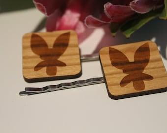 Decorative Bobby Pins-Australian Bobby Pins-Hair Accessory-Hair Pin-Australian Wildflowers-Donkey Orchid-Wood Lasercut