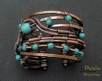 Wire wrapping copper blue turquoise women's bangle cuff bracelet,wire wrapped charm bracelets,Turquoise copper bracelet,stones wire wrapping