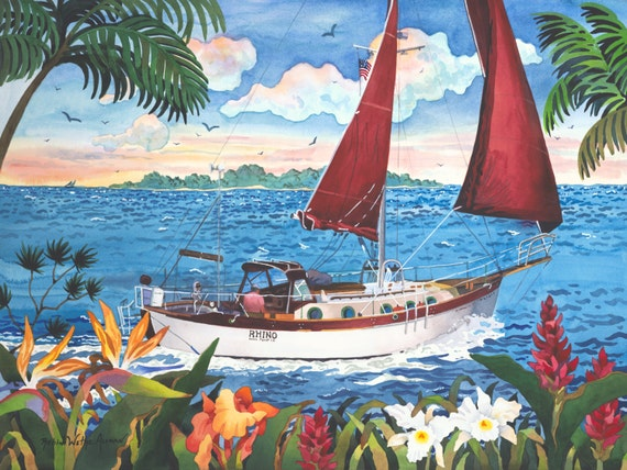Sailboat, Sailing in Hawaii, Sailing, and Tropical Flowers, Sailing the Islands, Tropical Art, Sailing the World