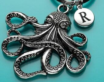 Huge Octopus Keychain, Octopus Key Ring, Sea Creature, Initial Keychain, Personalized Keychain, Custom Keychain, Charm Keychain, H10