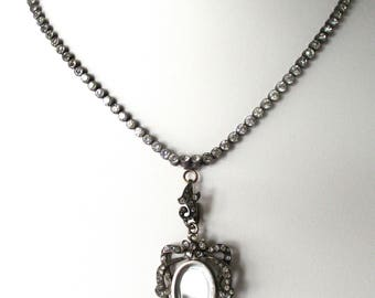 Victorian Silver & Paste Necklace With Matching Locket