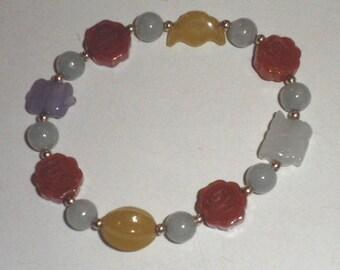 Hand Carved Jade and 14kt Gold Bead Bracelet, Vintage, Never Worn