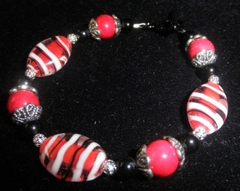 Red and Black Bracelet Vampire Colors Red Black White Zebra Stripe