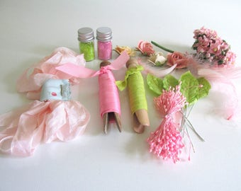 Pink Green Spring Craft Supplies Pastel Millinery Flowers Vintage Seam Binding Wedding Corsage Boutonniere Scrapbook