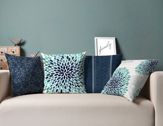 Navy And Teal Throw Pillows: Navy And Teal Pillow Navy Teal Pillow Blue Teal Pillows