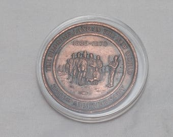 1970 Bronze Commemorative Medal - The Pilgrims Land in the New World 350th Anniversary - Capsuled, uncirculated