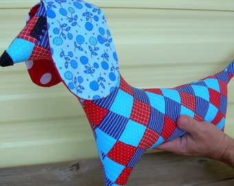 Dachshund decorative pillow. doxie. dachsie. badger dog. weiner dog  weenie dog blue and red plaid. flower and dots . doggie pillow.