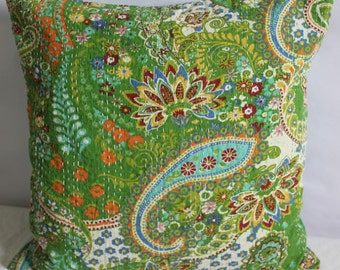 Indian quilted green kantha pillow multi color handmade throw pillow covers 20x20 decorative cushion cover 20x20 ethnic cushion pillowcase