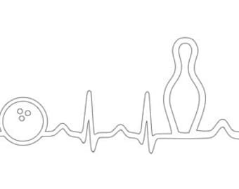EKG bowling ball and pin outline SVG file