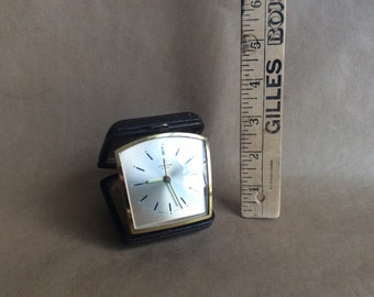 Junghans Bivox Travel Alarm Clock, Vintage, Made in Germany, 1980s, Pocket Clock, Faux Leather