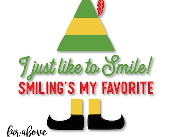 I just like to Smile! Smiling's my favorite Elf Hat Shoes - SVG, DXF, png, jpg digital cut file for Silhouette or Cricut