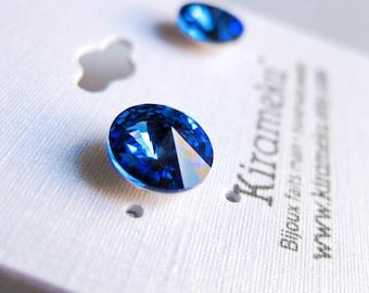 Boucles d'oreilles bleu saphir, Boucles d'oreilles en cristal Swarovski rivoli 8mm, boucles d'oreilles en acier inoxydable, cadeau mariée