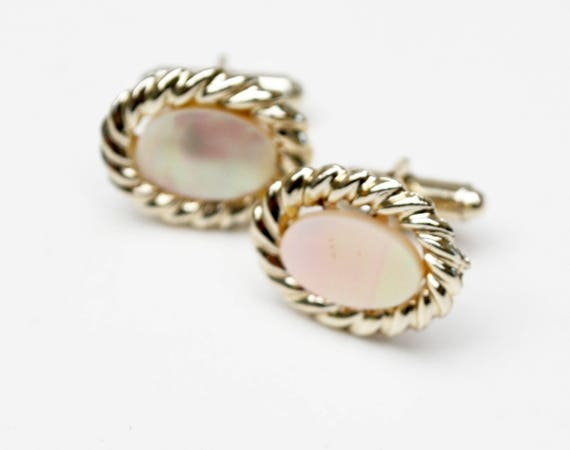 Mother of Pearl cuff links  light gold metal  MOP Oval cuff links