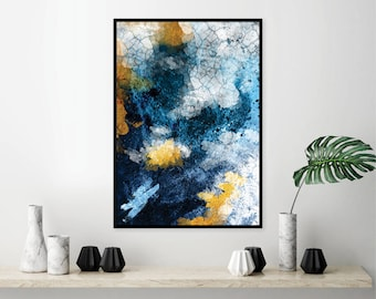 Printable abstract art in navy blue and gold Downloadable blue gold modern print Abstract wall art poster Wall decor Large Digital download