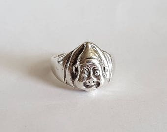 Sterling Silver Elf or Clown Face Ring  Size 7