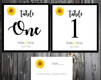 25 Sunflower Wedding Table Numbers and 250 place settings for reception tables