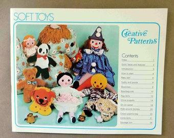 Vintage Soft Toy Making Tutorials - Soft Toys by Creative Patterns - Glove Puppets - Rag Dolls - Clown Pajama Bag - Circle Dolls - 1975